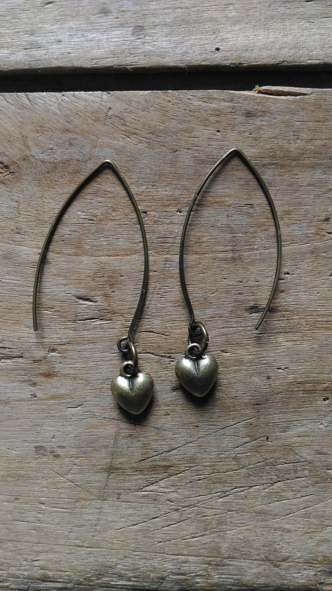 Boucles d'oreilles coeur bronze