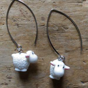 Boucles d'oreilles mouton blanc grand support