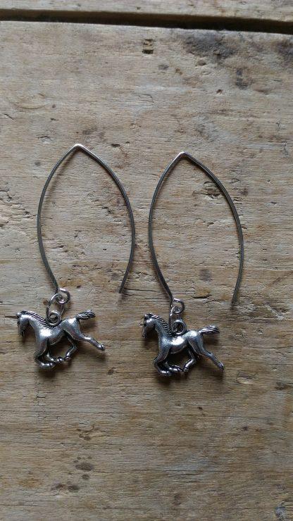 Boucles d'oreilles petit cheval argent grand support
