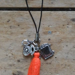 Attache Portable Télévision Téléphone et Pompon Orange