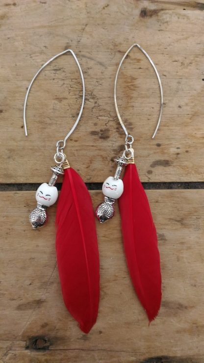 Boucles d'oreilles plume rouge chat blanc et poisson