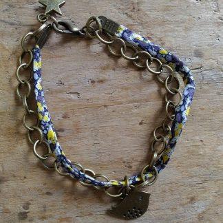 Bracelet double chaine bronze et liberty noir jaune oiseau