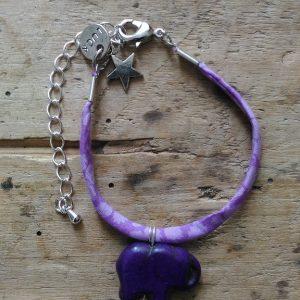 Bracelet liberty mauve elephant medaille luck