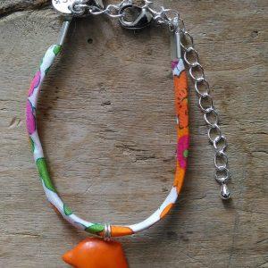 Bracelet liberty orange dauphin medaille luck