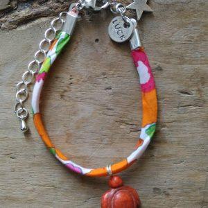 Bracelet liberty orange tortue medaille luck