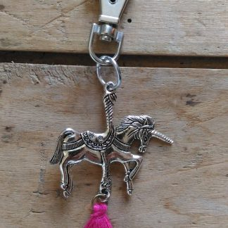 Porte Clés Licorne Pompon Rose Vif