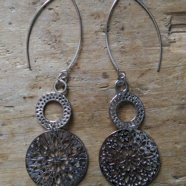 Boucles d'oreilles deux médailles argent