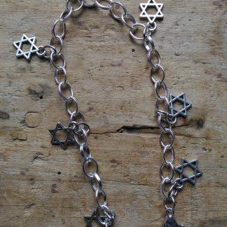 Bracelet métal 7 etoiles de david et coeur