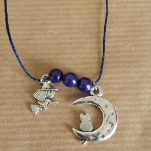 Collier Lune chat et sorcière