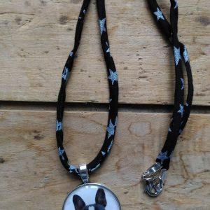 Collier liberty noir médaille chien