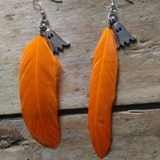 Boucles d'oreilles Halloween fantomes plume orange