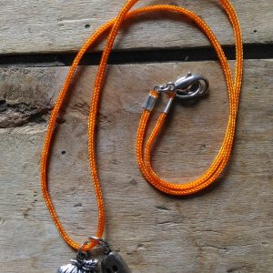 Collier Halloween cordon orange citrouille fantome