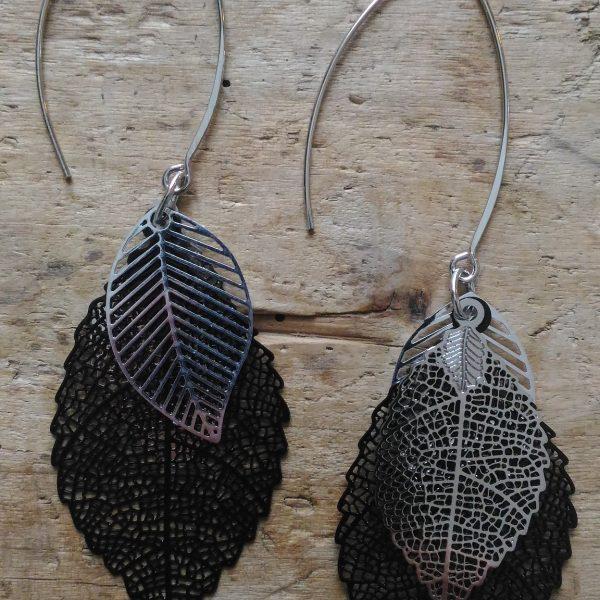 Boucles d'oreilles grande feuille noire 2 petites feuilles argent Réversible