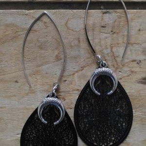 Boucles d'oreilles grands goutte noire et petites cornes de gazelle argent