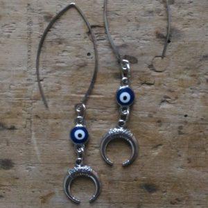 Boucles d'oreilles oeil et petit croissant lune ethnique