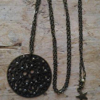 Sautoir bronze grosse médaille chaine moyenne