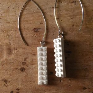 Boucles d'oreilles long Lego blanc
