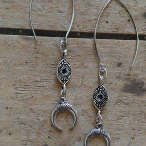 Boucles d'oreilles medaille oblongue et croissant lune