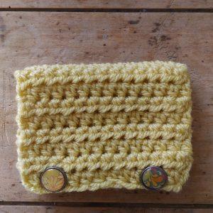 Pochette crochet main jaune 2 attaches