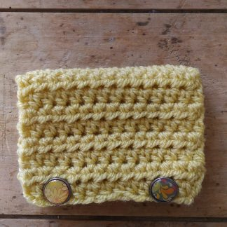 Pochette crochet main jaune 2 attaches