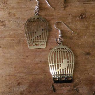 Boucles d'oreilles cage oiseau argent