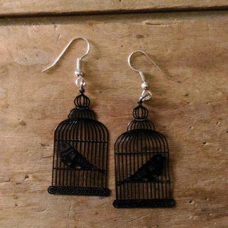 Boucles d'oreilles cage oiseau noire