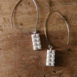Boucles d'oreilles petit lego blanc
