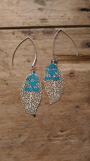 Boucles d'oreille feuille filigrane argent et cage oiseau turquoise