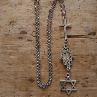 Collier chaine croix main etoile de David