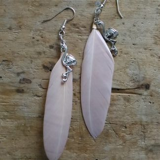 Boucles d'oreilles flamand rose argent et plume rose