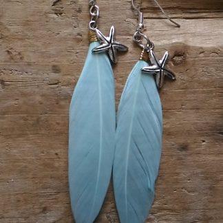 Boucles d'oreilles plume menthe claire etoile de mer