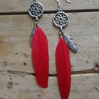 Boucles d'oreilles plume rouge attrape reve et plume