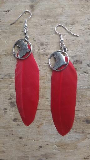 Boucles d'oreilles plume rouge et carte afrique