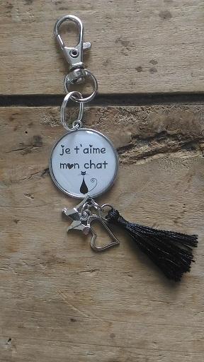 Porte clés je t'aime mon chat