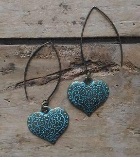 Boucles d'oreilles bronze grand coeur bleu antique