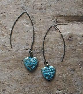 Boucles d'oreilles bronze petit coeur bleu antique