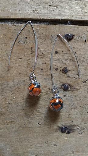 Boucles d'oreilles mini fiole wax orange et noir