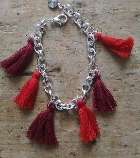 Bracelet argent pompon rouge et bordeaux