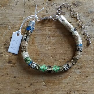 Bracelet cordon ethnique 2 beige vert kaki