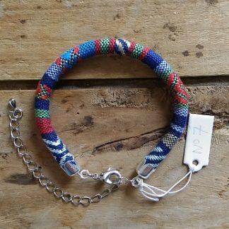 Bracelet cordon ethnique 7 bleu marine rouge bleu clair