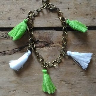 Bracelet souple bronze pompons vert clair blanc