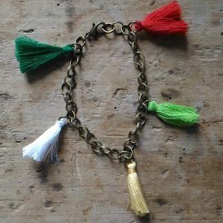 Braceles souple bronze pompons vert jaune rouge blanc