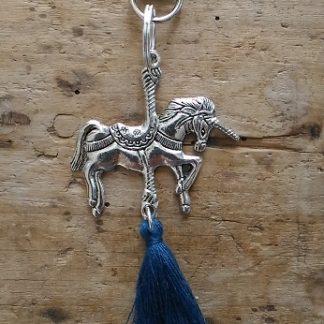 Porte-clés Licorne et pompon bleu paon