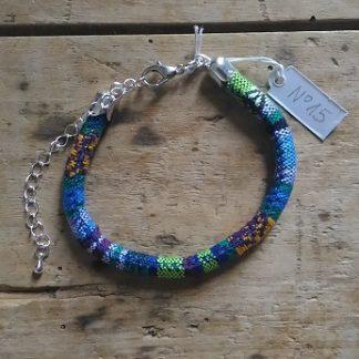 Bracelet cordon ethnique bleu clair et vert n°15