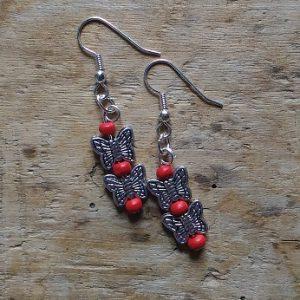 Boucles d'oreilles 2 papillons et perles rouge