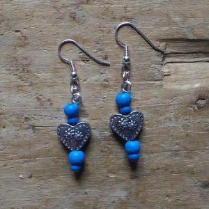 Boucles d'oreilles coeur et perles