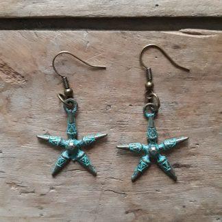 Boucles d'oreilles bronze étoile bleu antique