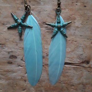 Boucles d'oreilles bronze étoile bleu antique plume