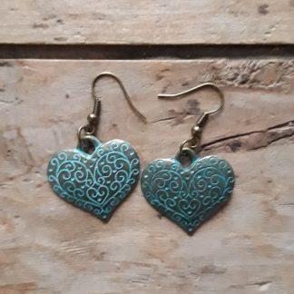 Boucles d'oreilles bronze coeur bleu antique