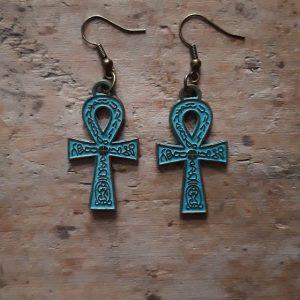 Boucles d'oreilles bronze croix egyptienne bleu antique